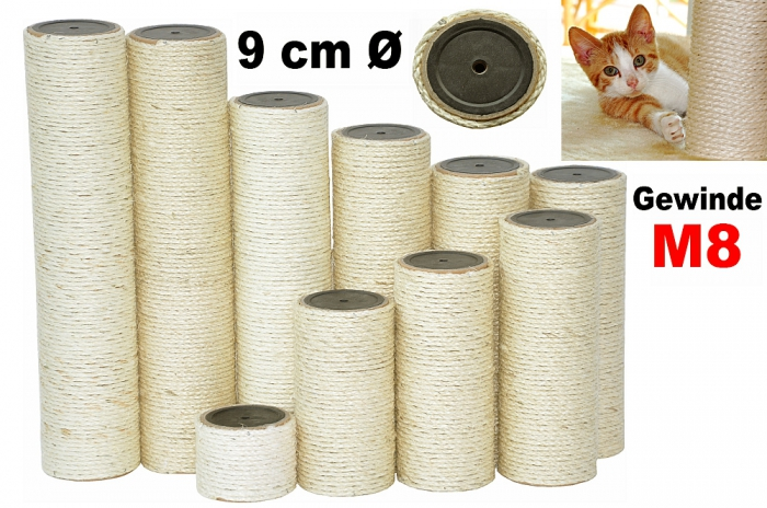 nanook sisal kratzstamm ersatzstamm kratzbaum 9 cm diverse l ngen gewinde m8 ebay. Black Bedroom Furniture Sets. Home Design Ideas